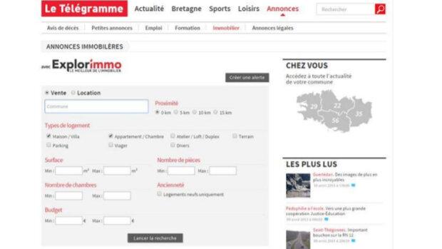 Le Télégramme choisit Explorimmo pour la rubrique immo de son site web