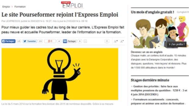 Le site Pourseformer.fr absorbé par L'Express Emploi