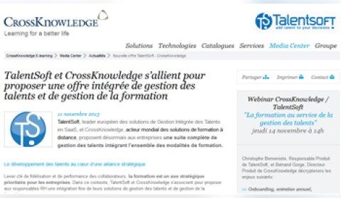 TalentSoft et CrossKnowledge vont proposer une offre intégrée