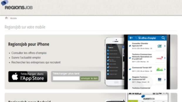 3 000 nouveaux téléchargements par jour pour l'appli RegionsJob