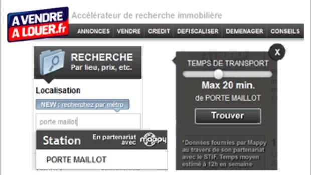 AVendreALouer.fr propose la recherche par stations de métro ou temps de transport