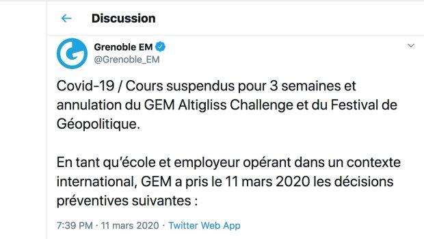 Covid-19 : comment Grenoble École de Management informe étudiants et personnels