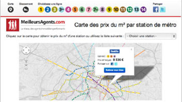 MeilleursAgents lance une carte des prix immobiliers par station de métro