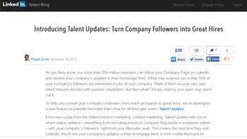 «Talent updates» de LinkedIn: quand le recrutement croise le content marketing - © D.R.