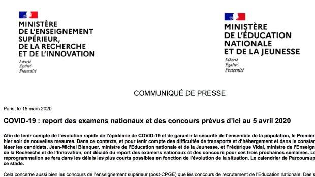 Covid-19: report des examens nationaux et des concours prévus d'ici au 5 avril 2020