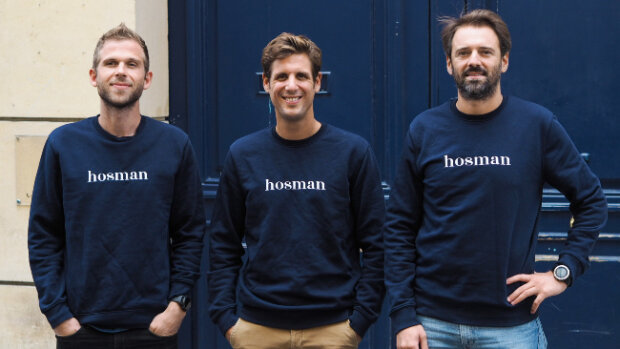Benjamin Bavuz, Stanislas de Dinechin et Paul-Henri Chopin, les cofondateurs de Hosman - © D.R.