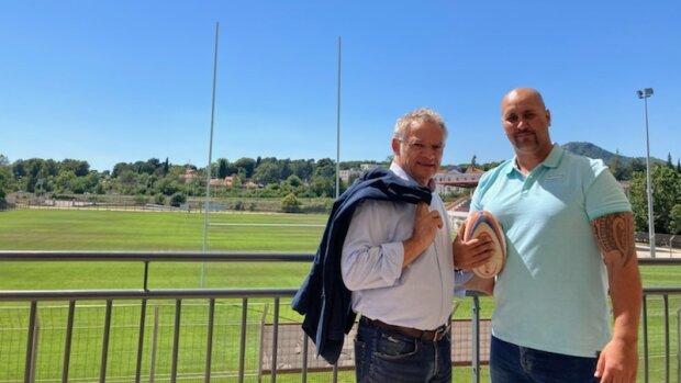 Denis Galtier, fondateur de Teammo, et Aymeric Portalier, ancien rugbyman et désormais mandataire - © DR