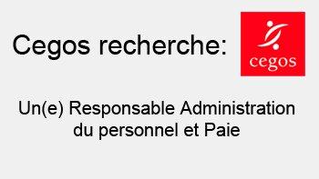 Cegos cherche un(e) Responsable Administration du personnel et Paie - D.R.