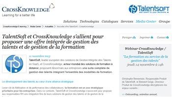 TalentSoft et CrossKnowledge vont proposer une offre intégrée - © D.R.