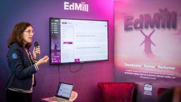 Learning Technologies 2020: Sophie Manago, chef de projet pour EdMill, en pleine démo produit. - © D.R.