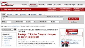 Baromètre Explorimmo/Ifop: 3 Français sur 4 n'ont pas de projet immobilier - © D.R.