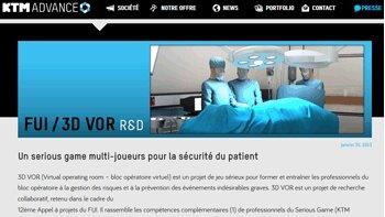 3D Virtual Operating Room : le serious game du bloc opératoire - D.R.