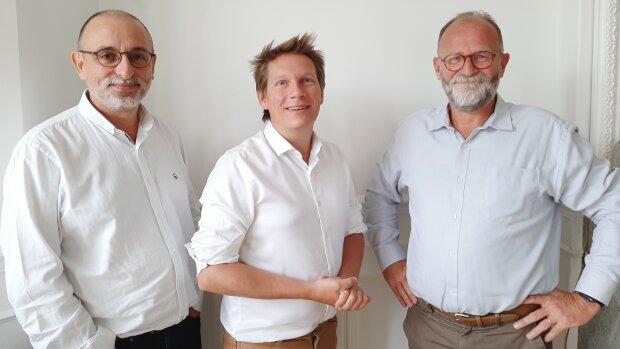 Jean-Marc Le Prado, Christophe Duprat et Marc Lebreton, les cofondateurs de Qlower - © D.R.