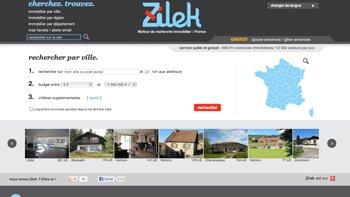 Zilek.com: un moteur de recherche qui répertorie gratuitement les annonces immobilières - © D.R.