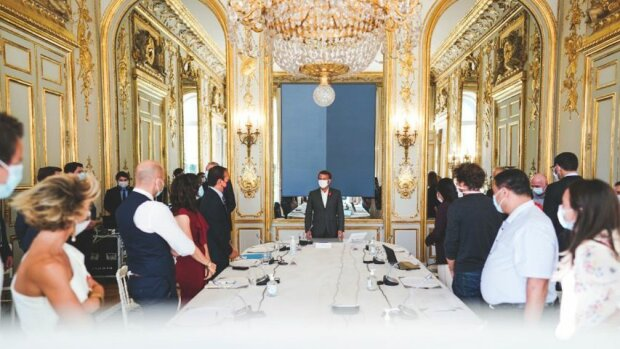 Réunion des communautés French Tech à l'Elysée avec le Président de la République Emmanuel Macron - © Compte Twitter Cedric O
