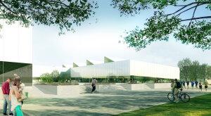 Le futur parvis du centre omnisports de Moulon. - © Universite Paris-Saclay