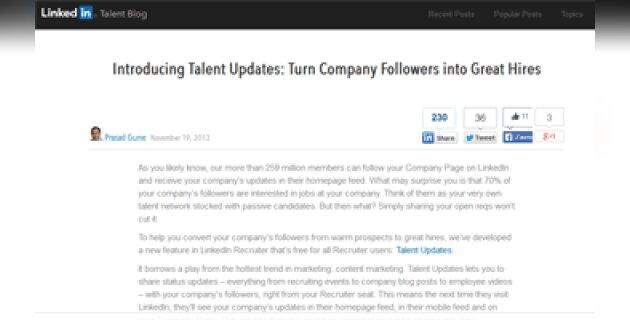 «Talent updates» de LinkedIn: quand le recrutement croise le content marketing - D.R.