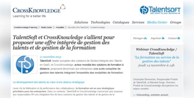 TalentSoft et CrossKnowledge vont proposer une offre intégrée - D.R.