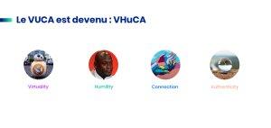 * Vuca est l'acronyme de Volatility, Uncertainty, Complexity et Ambiguity, devenu Vhuca (pour Virutalité, Humilité, Connexion et Authenticité)