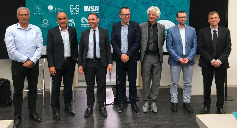 Partenaires de la future université de Rennes. Patrice Leguesdron (Insa); Pablo Diaz (IEP); David Alis (Rennes 1); Olivier David (Rennes 2); Laurent Chambaud (EHESP) et Régis Gautier (ENSCR)