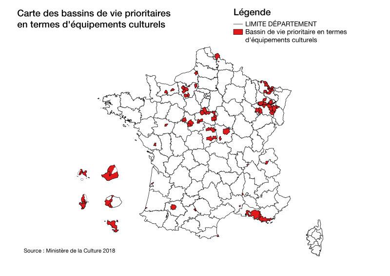 Carte des bassins de vie prioritaires en termes d'équipements culturels