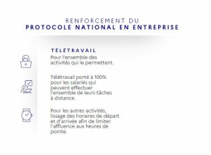 Protocole national en entreprise renforcé (octobre 2020): le télétravail vivement recommandé
