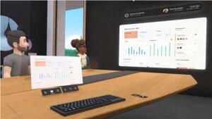 Le bureau d'un collaborateur en réalité virtuelle pendant la réunion. - © Facebook.