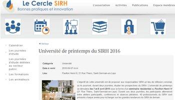 Agenda: Rendez-vous les 7 et 8 avril pour la 4<sup>e</sup> édition de l'université de printemps du Cercle SIRH - D.R.